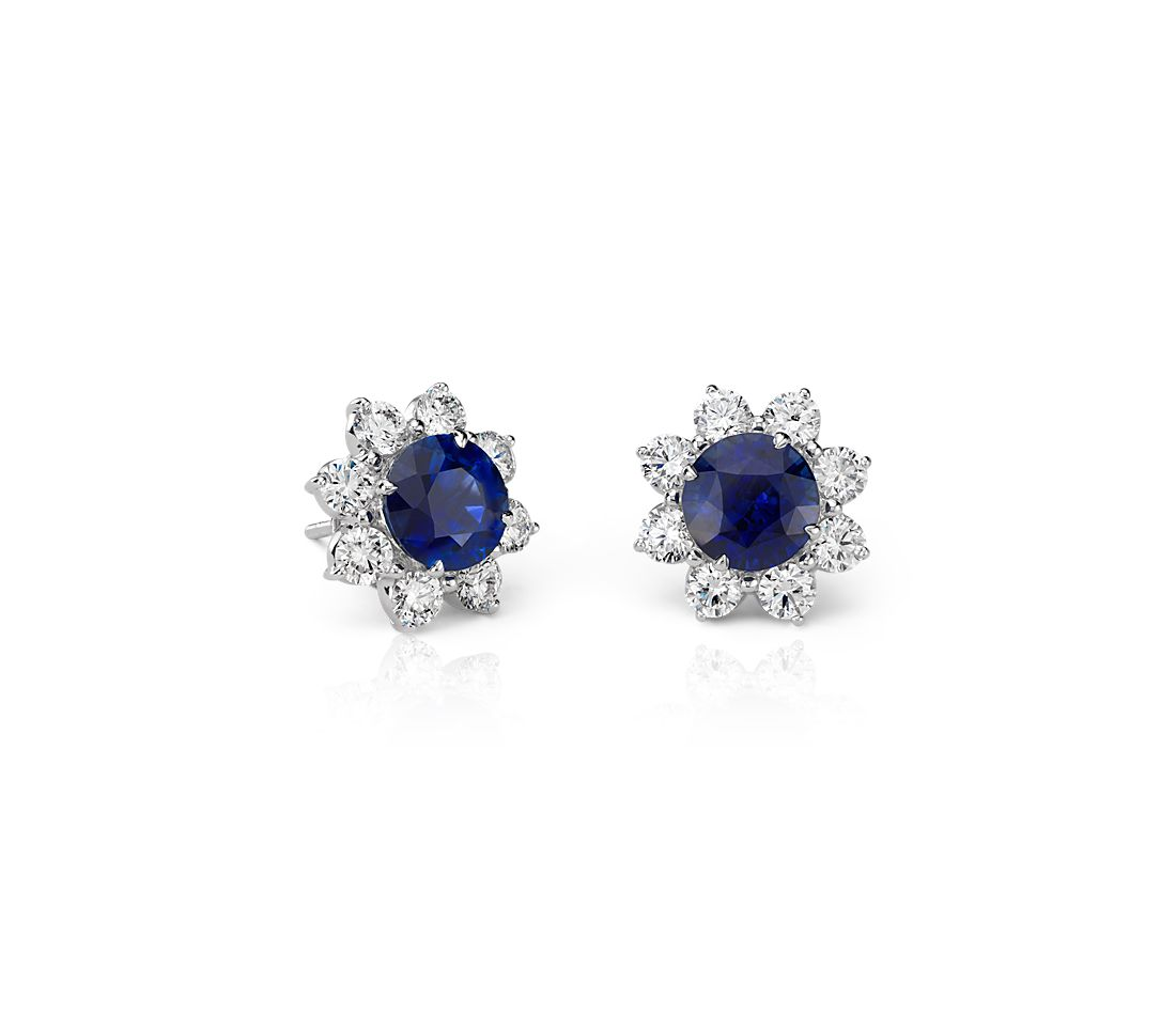Classic Round Sapphire and Diamond Halo Earrings in 18k White Gold