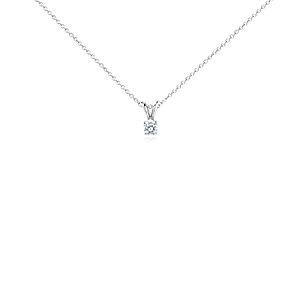 Colgante de diamante solitario en oro blanco de 14 k