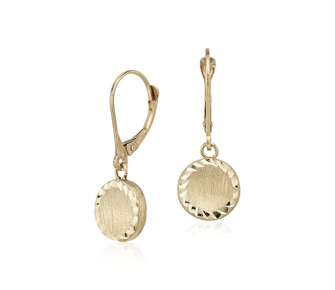 Round Drop Earrings in 14k Yellow Gold