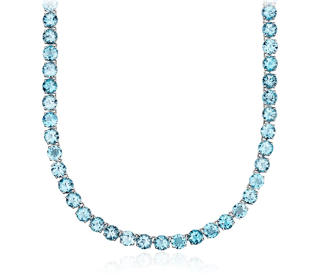 Round Swiss Blue Topaz Necklace in Sterling Silver