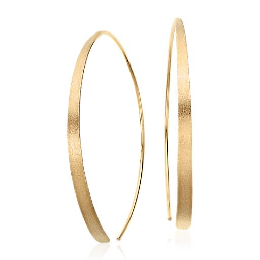 Round Threader Earrings in Brushed Yellow Gold Vermeil