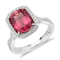 Rubelite Tourmaline and Diamond Halo Split Shank Twist Ring in 18k White Gold (2.42 ct.)