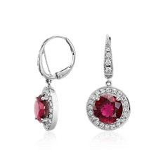Rubelite Tourmaline and Diamond Halo Drop Earrings in 18k White Gold