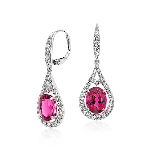Rubellite with Diamond Halo Earrings  in 18k White Gold