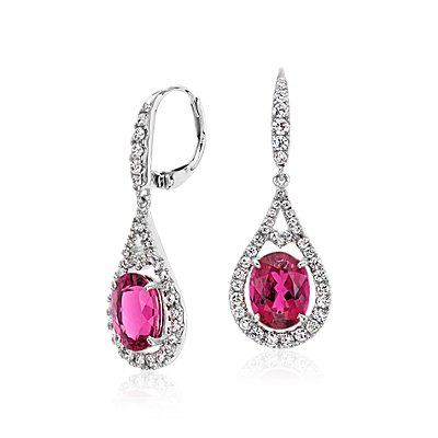 Rubellite with Diamond Halo Earrings  in 18k White Gold (9x7mm)