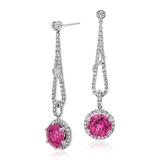 Round Rubellite and Diamond Drop Earrings in 18k White Gold