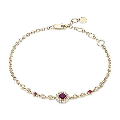 Ruby and Diamond  Vintage Inspired Bracelet 14k Yellow Gold