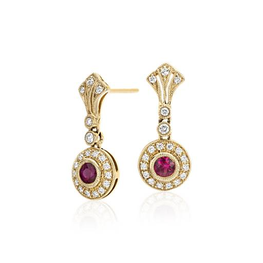 NEW Ruby and Diamond Vintage-Inspired Milgrain Earrings in 14k Yellow Gold (3.5mm)