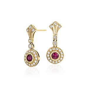 Ruby and Diamond Vintage-Inspired Milgrain Earrings in 14k Yellow Gold (3.5mm)