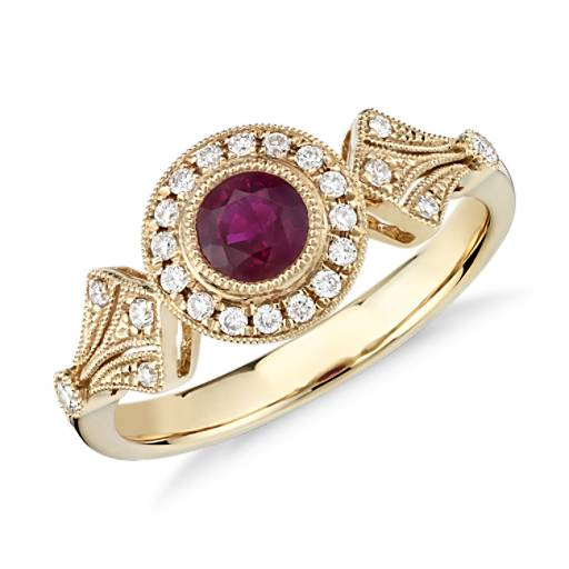 NEW Ruby and Diamond Vintage-Inspired Milgrain Ring in 14k Yellow Gold (4mm)