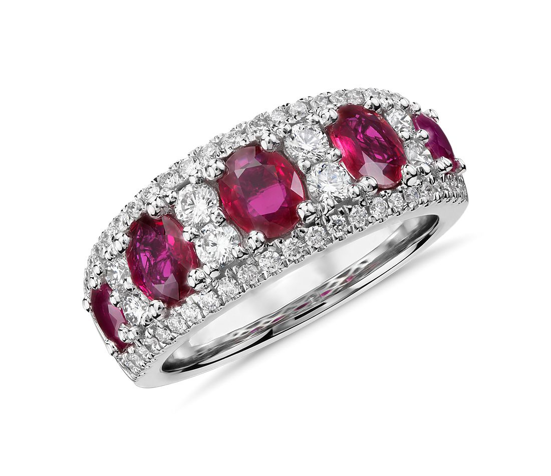 Oval Ruby And Diamond Ring In 14k White Gold 0 55 Ct Tw