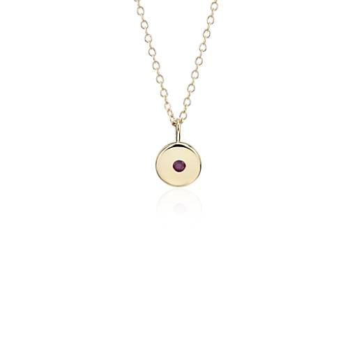 NOUVEAU Pendentif à breloque avec mini-pierre de naissance rubis en or jaune 14carats - Juillet (2mm)