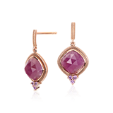 Frances Gadbois Ruby and Pink Sapphire Earrings in 18k Rose Gold (8x8mm)