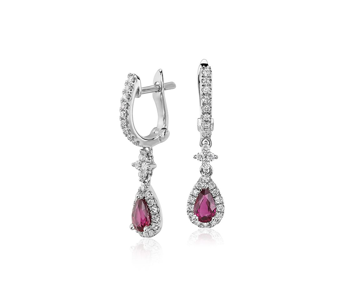 ruby and diamond drop earrings in 14k white gold 5x3mm. Black Bedroom Furniture Sets. Home Design Ideas