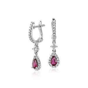 Ruby and Diamond Drop Earrings in 14k White Gold (5x3mm)