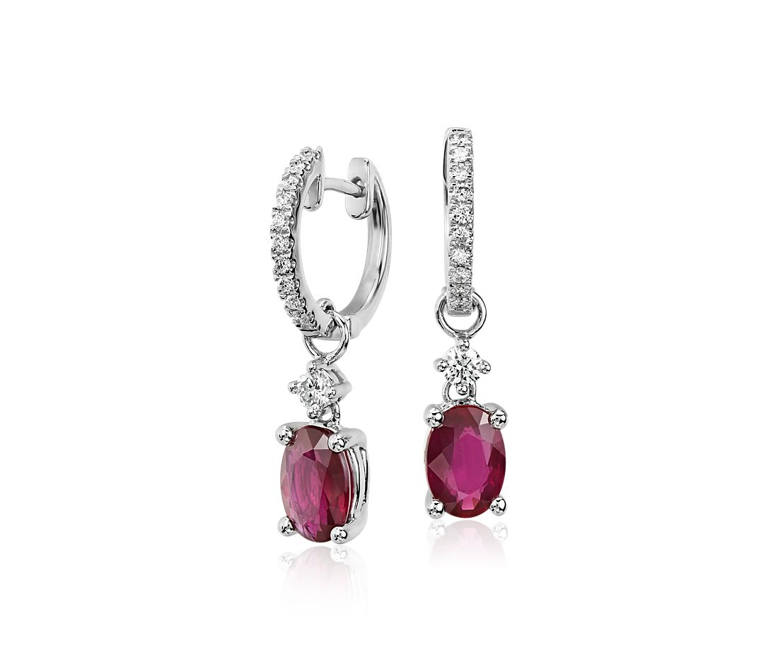 ruby and diamond drop earrings in 14k white gold 7x5mm. Black Bedroom Furniture Sets. Home Design Ideas