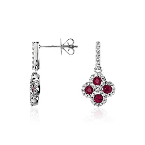 Ruby and Diamond Drop Earrings in 14k White Gold (2mm)