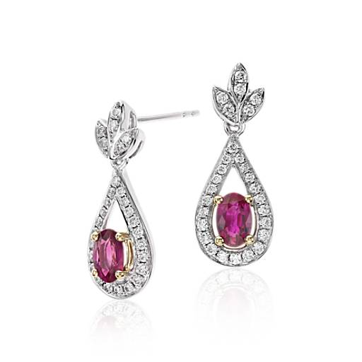 NEW Ruby and Diamond Drop Earrings in 18k White and Yellow Gold (6x4mm)