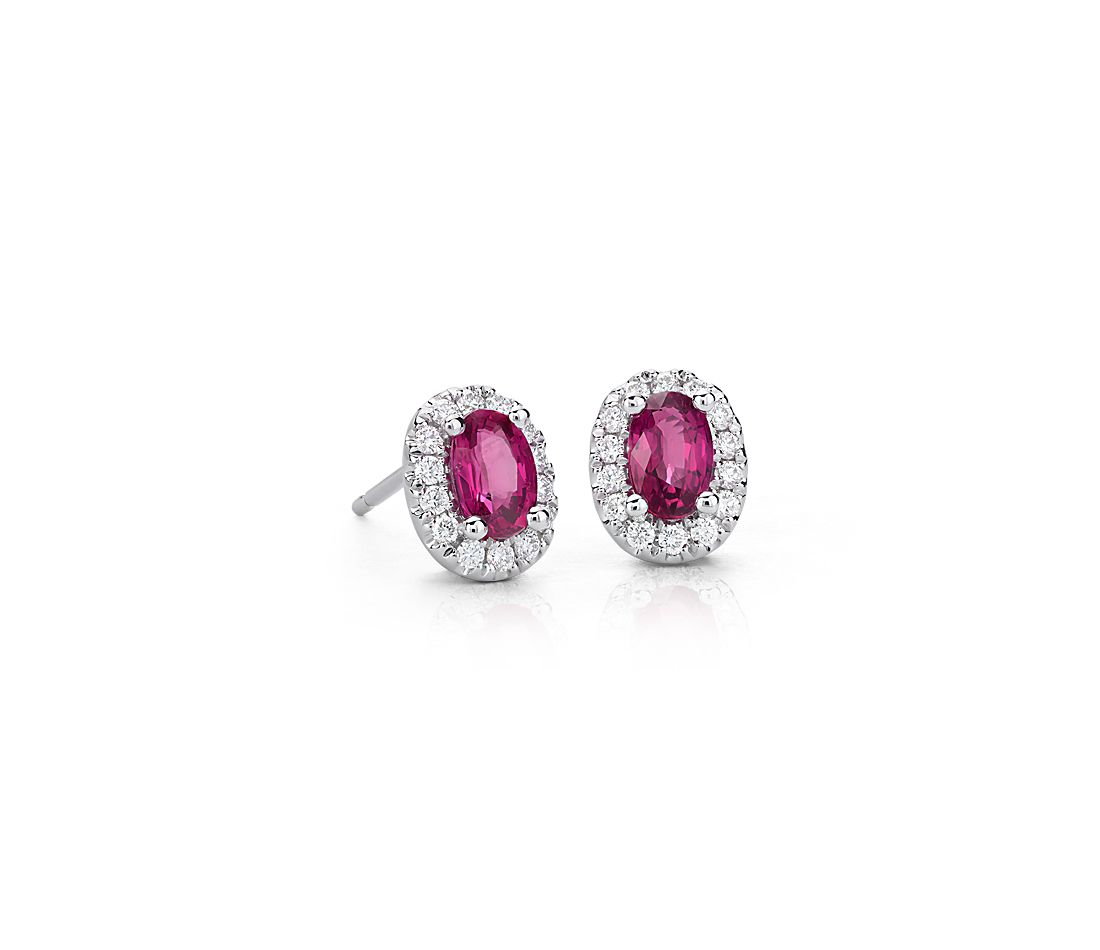 Oval Ruby and Pavé Diamond Earrings in 18k White Gold (6x4mm)