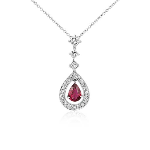 Pear Shape Ruby and Diamond Halo Drop Pendant in 18k White Gold (0.68 cts)