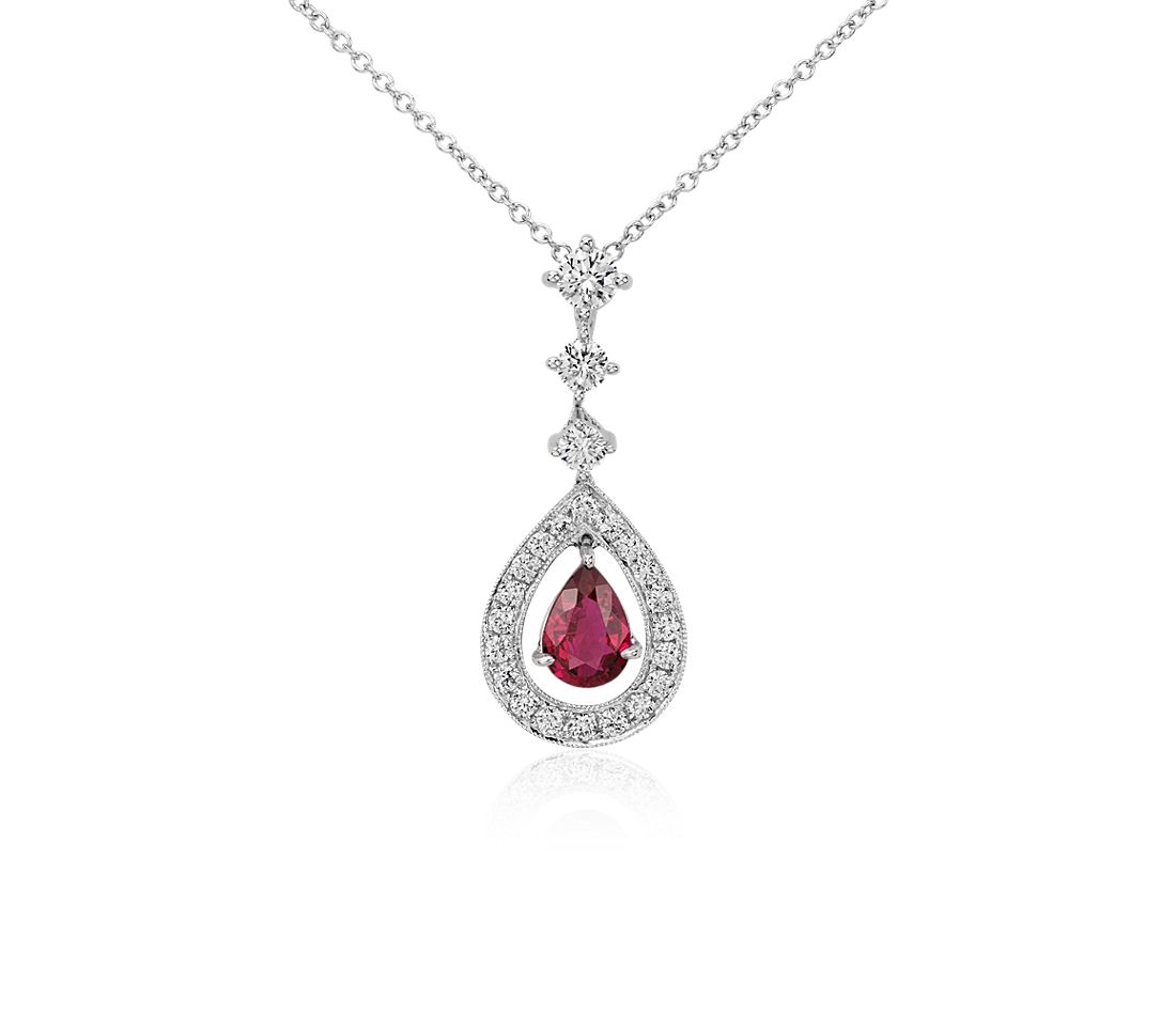 Pear Shape Ruby and Diamond Halo Drop Pendant in 18k White Gold (0.68 cts) (7x5mm)