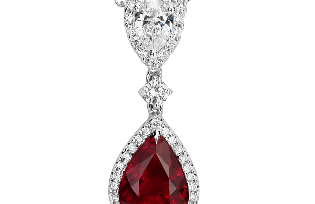 Pear Shape Ruby and Diamond Halo Drop Pendant in 18k White Gold (8x6mm)