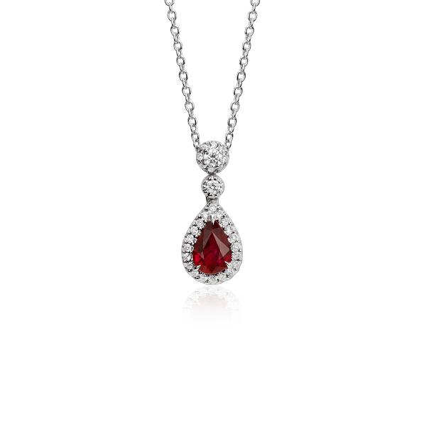 Colgantes de diamantes y rubí de talla pera en oro blanco de 18k (6x4mm)