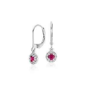 Ruby and Diamond Drop Earrings in 14k White Gold (3mm)