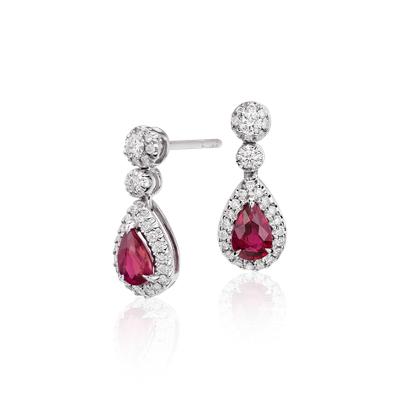 Aretes colgantes de diamante y rubíes en oro blanco de 18k (6x4mm)