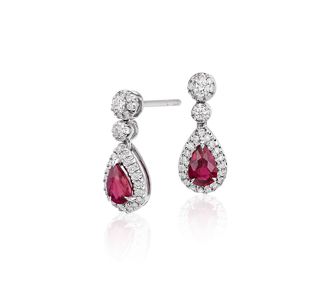 ruby and diamond double drop earrings in 18k white gold. Black Bedroom Furniture Sets. Home Design Ideas
