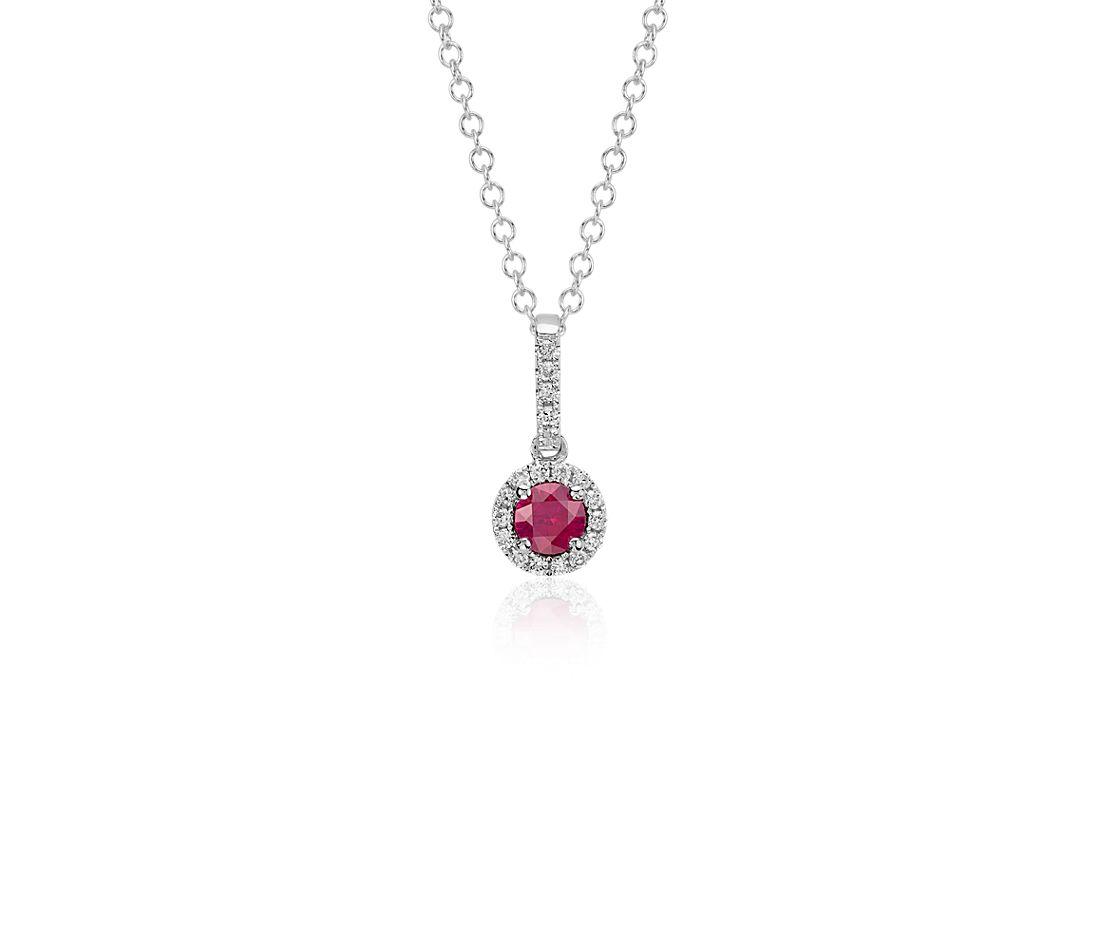 Colgante de diamante y rubí en forma de gota en oro blanco de 14 k (4mm)
