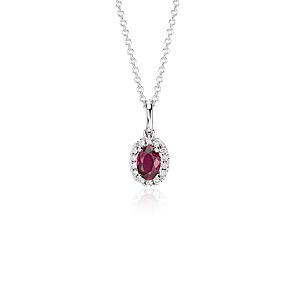 Pendentif halo diamants et rubis en or blanc 18 carats (6 x 4 mm)