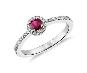 Ruby and Diamond Petite Ring in 14k White Gold