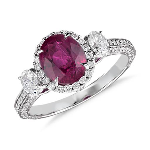 NEW Ruby and Diamond Halo Ring in 18k White Gold (2.16 ct center)