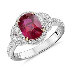 NOUVEAU Bague halo de diamants et rubis en or blanc 18 carats (2,02 ct au centre)