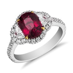 Bague halo de diamants et rubis en Or blanc 18 ct