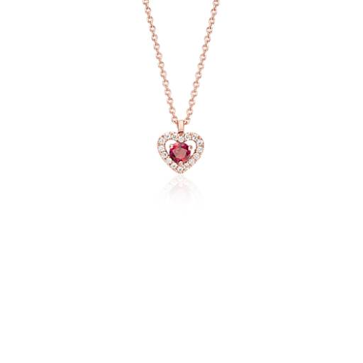 NEW Petite Ruby and Diamond Pavé Heart Pendant in 14k Rose Gold (3mm)