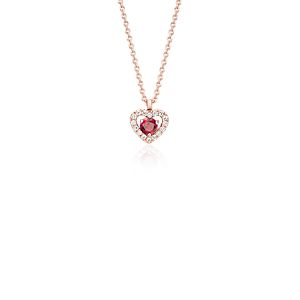 Petite Ruby and Diamond Pavé Heart Pendant in 14k Rose Gold (3mm)
