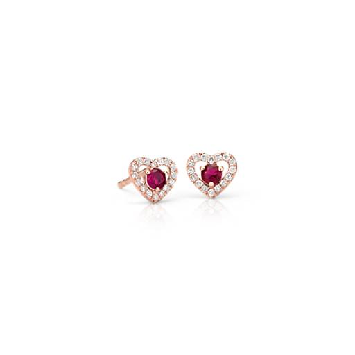 NEW Petite Ruby and Diamond Pavé Heart Stud Earrings in 14k Rose Gold (2.5mm)
