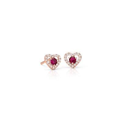 新款小巧紅寶石與鑽石密釘鑲心形耳釘14k 玫瑰金 ( 2.5毫米)