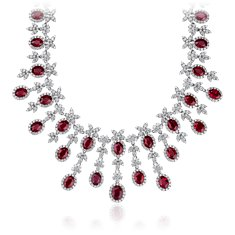 Oval Ruby and Diamond Necklace in 18k White Gold