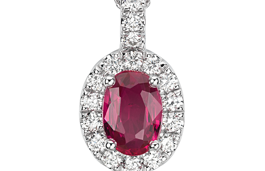 Oval Ruby and Pavé  Diamond Pendant in 18k White Gold (7x5mm)