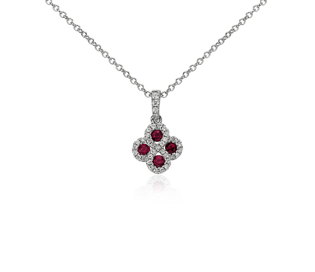 Ruby and Diamond Drop Pendant in 14k White Gold (2.3mm)