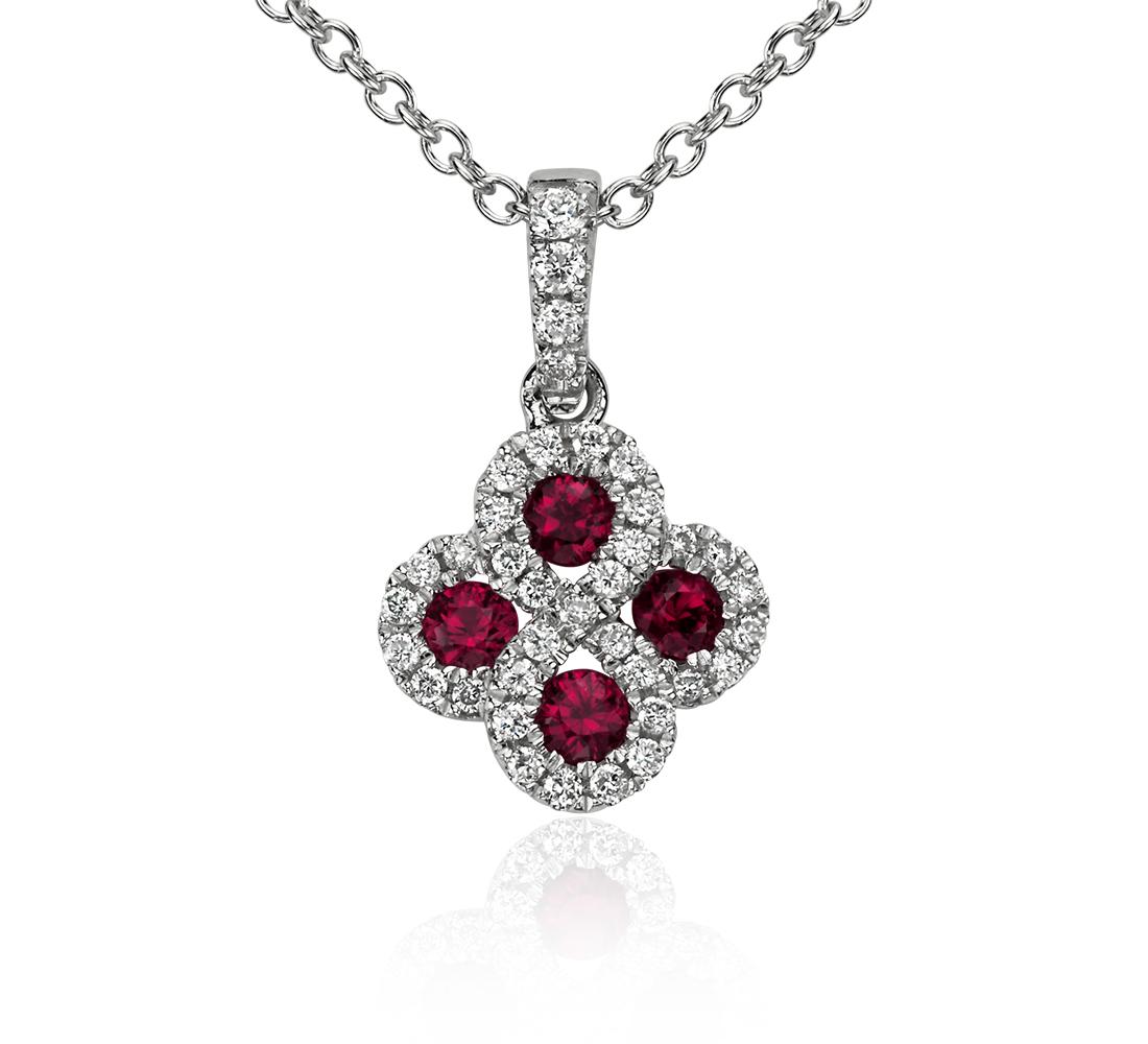 Pendentif goutte diamant et rubis en or blanc 14carats (2,3 mm)