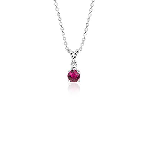 NEW Ruby and Diamond Solitaire Pendant in 18k White Gold (4.5mm)