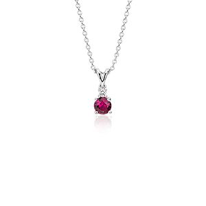 Ruby and Diamond Solitaire Pendant in 18k White Gold (4.5mm)