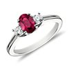Ruby and Diamond Ring in 18k White Gold (7x5mm)