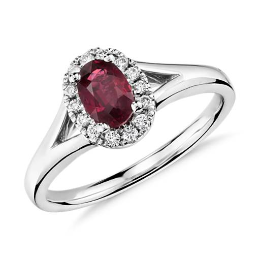 NEW Oval Ruby and Diamond Halo Ring in 18k White Gold (6x4mm)