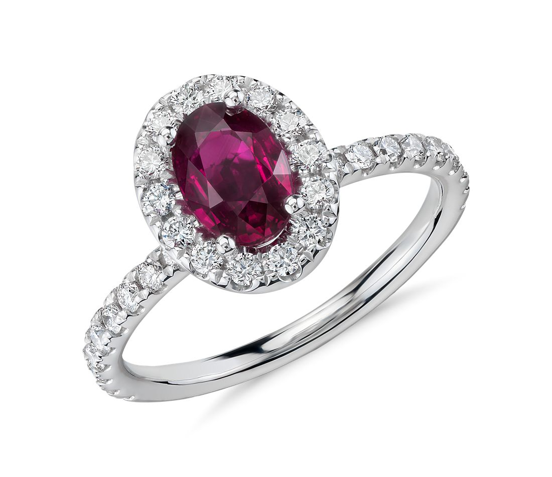 oval ruby and diamond ring in 18k white gold 7x5mm. Black Bedroom Furniture Sets. Home Design Ideas