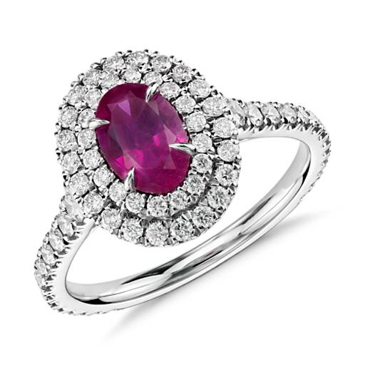 Ruby and Diamond Double Halo Ring in 18k White Gold (0.98 ct center)